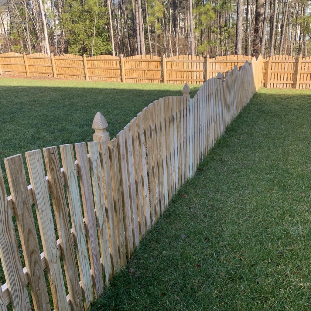 54 inch convex wood picket fence