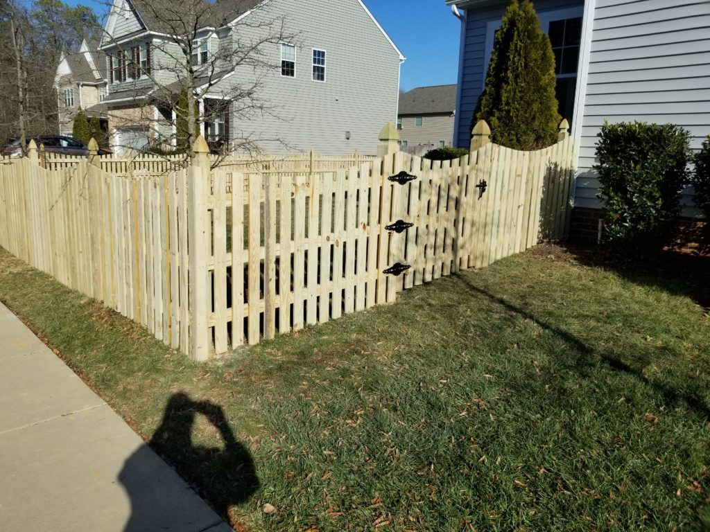 54 inch wood picket fencing on french gothic posts